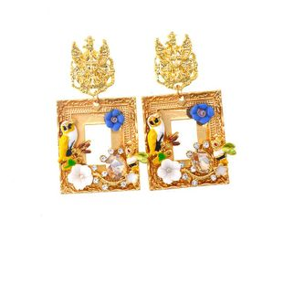 Womens Floral Plating Alloy Earrings NT190506120408's discount tags