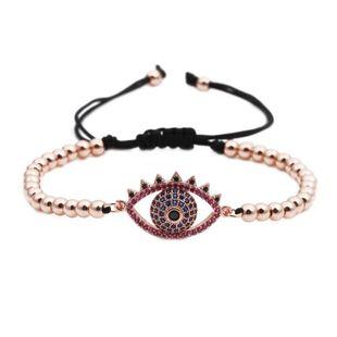 Copper beads micro-inlaid zircon devil eyes beaded weave Titanium Steel Bracelets & Bangles YL190506120481's discount tags