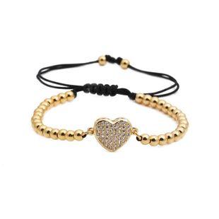 Fashion copper beaded weaving Unisex Heart Shaped Titanium Steel Bracelets & Bangles YL190506120479's discount tags