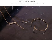 Womens rhinestone alloy Line art series jewelry set XS190506120396