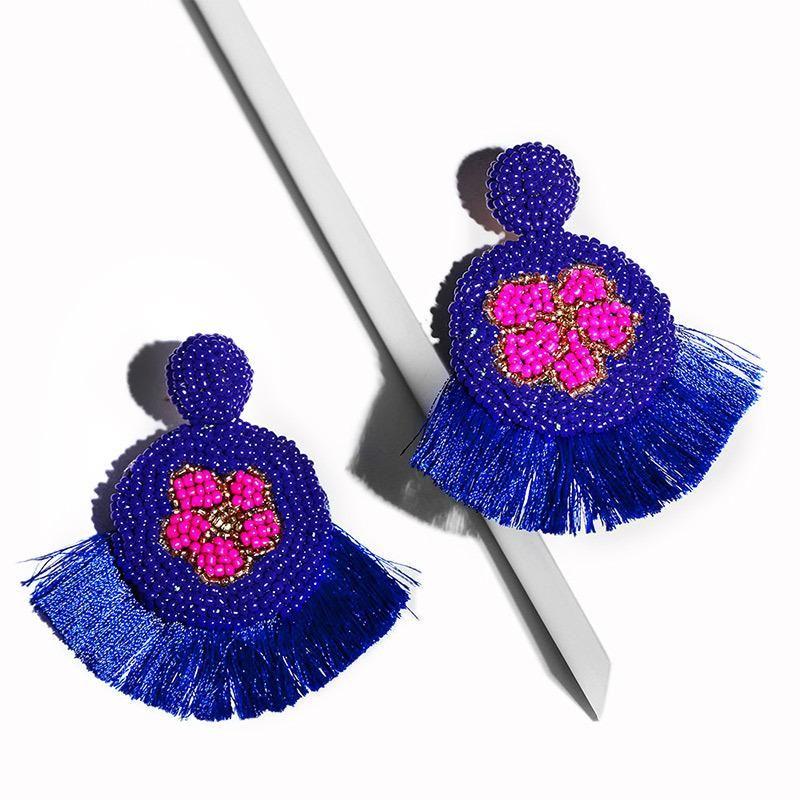 Womens geometric beads Long fan tassel  fringed soaring Earrings NHAS120507