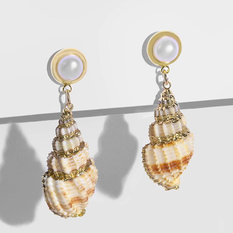 Womens Conch Sea Shell Seashell Other Earrings NHAS120522