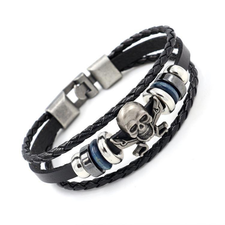 Unisex Geometric Beaded  Vintage alloy skull Leather Bracelets & Bangles NHHM120648