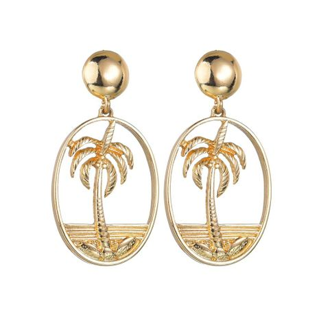 Womens Coco Plating Openwork coconut tree Alloy Earrings NHBQ120665's discount tags