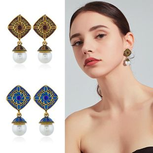 Womens Geometric Drop Oil Alloy Earrings NHKQ120673's discount tags