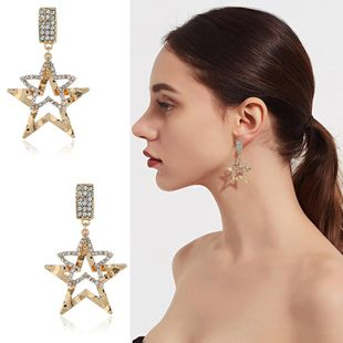 Womens Star Rhinestone Exaggerated hollow  Alloy Earrings NHKQ120682's discount tags