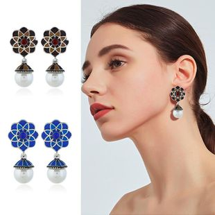 Womens Floral Rhinestone Alloy Earrings NHKQ120686's discount tags