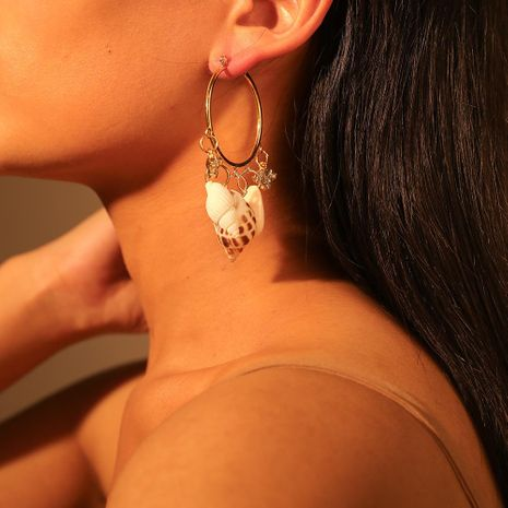Womens Shell Alloy Imitation Rhinestone Shell Conch Earrings NHMD120701's discount tags
