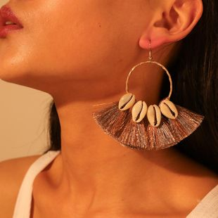 Womens Bohemian Plating Alloy  Shell Tassel Earrings NHMD120707's discount tags