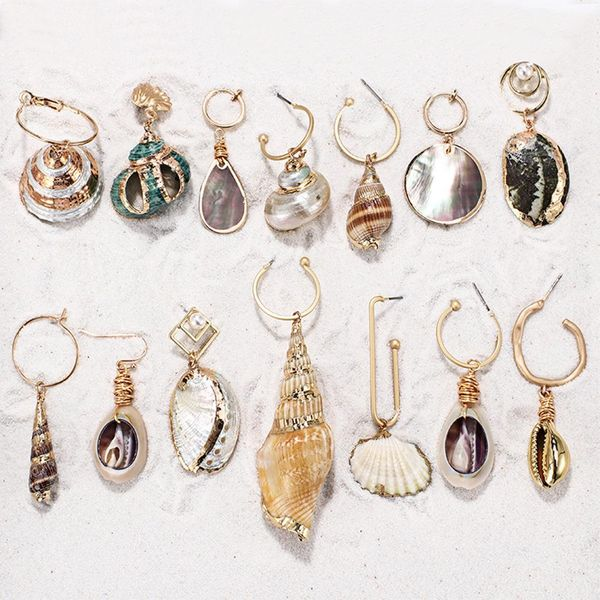 Womens Shell Plating Alloy Earrings NHMD120727