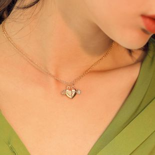 Womens geometric plating Heart shaped angel wings  alloy Necklaces NHMD120740's discount tags