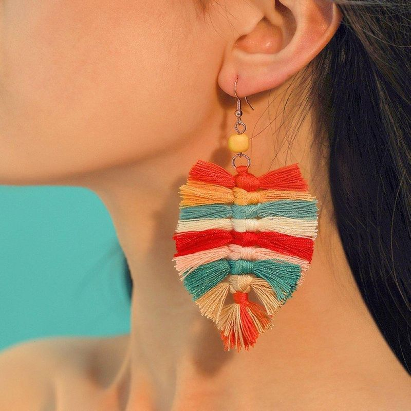 Womens Leaf Alloy Personality leaves tassel Earrings NHMD120757