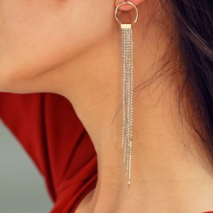 Womens Long Claw  Full length tassel Chain Earrings NHMD120758's discount tags