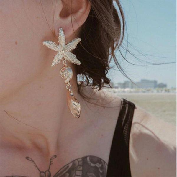 Womens Star Plating Alloy Earrings NHMD120764