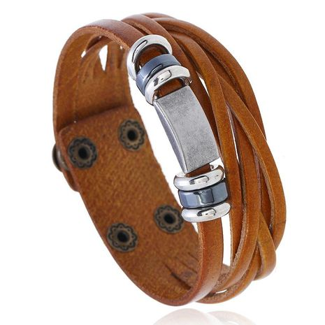 Unisex geometric leather Bracelets & Bangles NHPK120770's discount tags