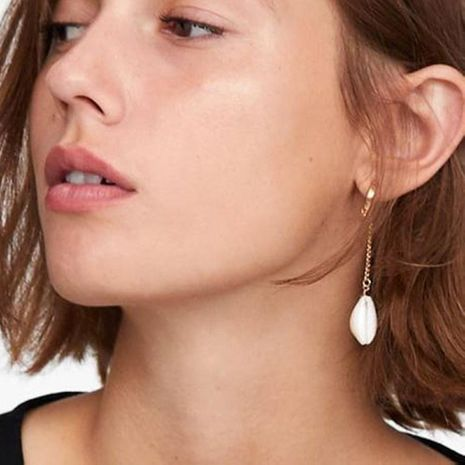 Womens Long Plating Alloy Imitation Beads Shell Earrings NHMD120775's discount tags