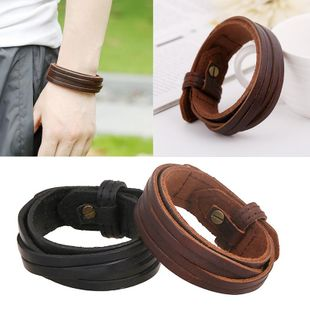 Unisex geometric leather  Vintage wide leather cowhide Bracelets & Bangles NHPK120779's discount tags