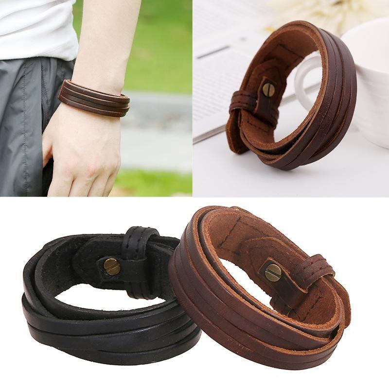 Unisex geometric leather  Vintage wide leather cowhide Bracelets & Bangles NHPK120779