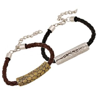 Unisex geometric artificial leather PU weaving  Bracelets & Bangles NHPK120780's discount tags