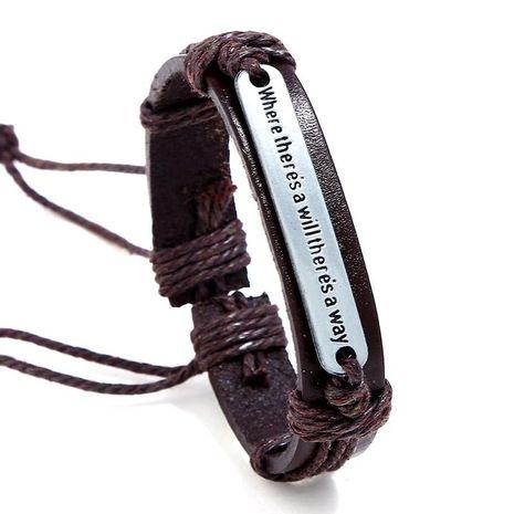 Unisex geometric leather English letter weaving  Bracelets & Bangles NHPK120782's discount tags