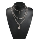 Womens geometric plating  Cross pendant with rhinestones alloy Necklaces NHMD120734