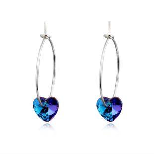 Trendy simple color zircon heart pendant earrings NHGO125128's discount tags