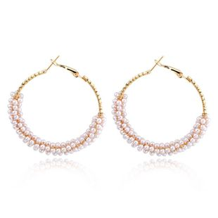 Womens Round Beads Earrings NHGO125132's discount tags