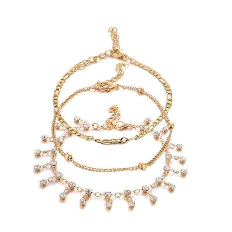 Élégant pompon strass minimaliste pendentif rond 3 couches bracelet de cheville en alliage NHGY126338's discount tags