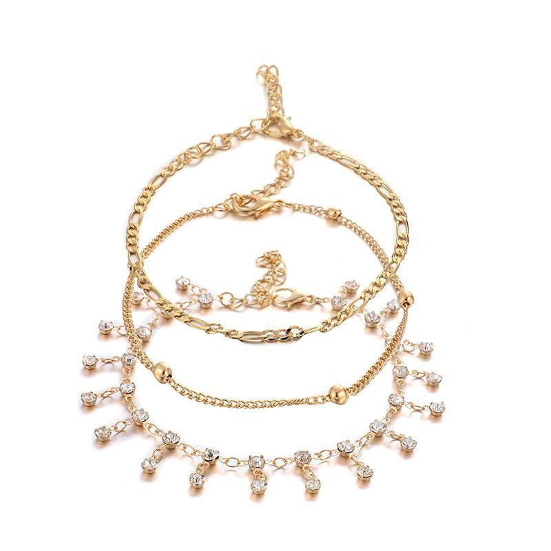 Stylish minimalist rhinestone tassel round pendant 3 layer alloy anklet bracelet NHGY126338