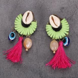 Womens Geometric Shell Braided tassel Earrings NHJQ126402's discount tags