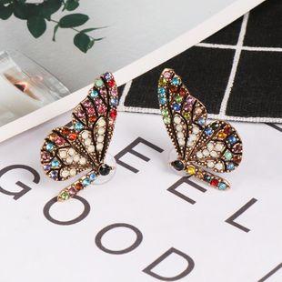 Womens Butterfly Rhinestone Alloy Earrings NHJJ126423's discount tags