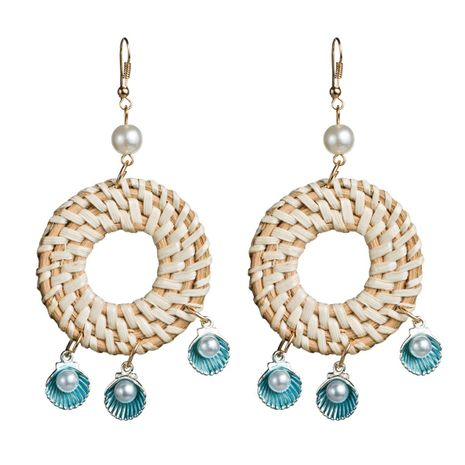 Womens Round Shell inlaid with beads rattan weave Earrings NHJE126431's discount tags