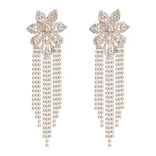 Womens Floral Long tassel Acrylic Earrings NHJE126436's discount tags