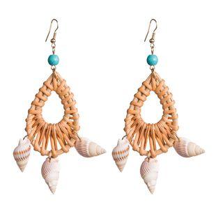 Womens Geometric Rattan weaving Earrings NHJE126440's discount tags