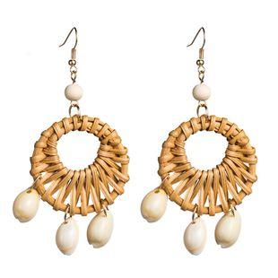 Womens Geometric Openwork rattan weaving  Rattan Earrings NHJE126453's discount tags