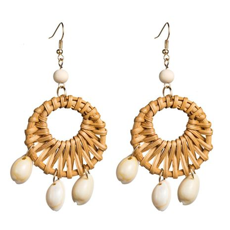 Womens Geometric Openwork rattan weaving  Rattan Earrings NHJE126453's discount tags