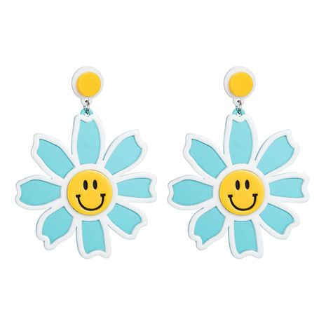 Womens Floral Smiley flower  Resin Earrings NHJE126454's discount tags