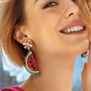 Womens Fruit Watermelon Electroplating Alloy Earrings NHJQ126459's discount tags