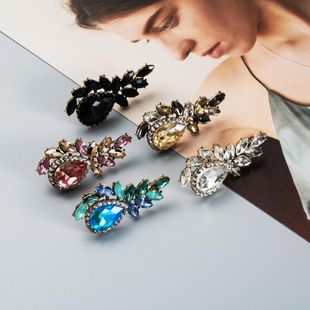 Womens Floral Acrylic rhinestone Earrings NHJE126469's discount tags