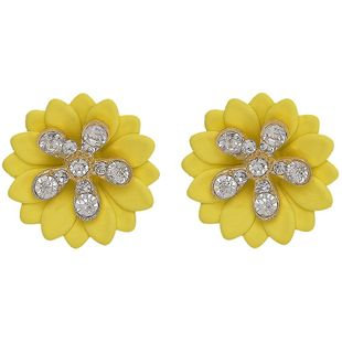 Womens Floral Rhinestone Alloy Earrings NHJQ126492's discount tags