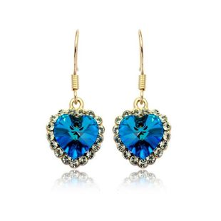 Womens Heart-Shaped Electroplating Alloy Earrings NHLJ126493's discount tags
