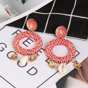 Womens geometric hybrid material Long shell Earrings NHJJ126501's discount tags