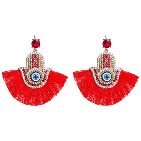 Womens Fan tassel Shaped Acrylic Earrings NHJE126503's discount tags