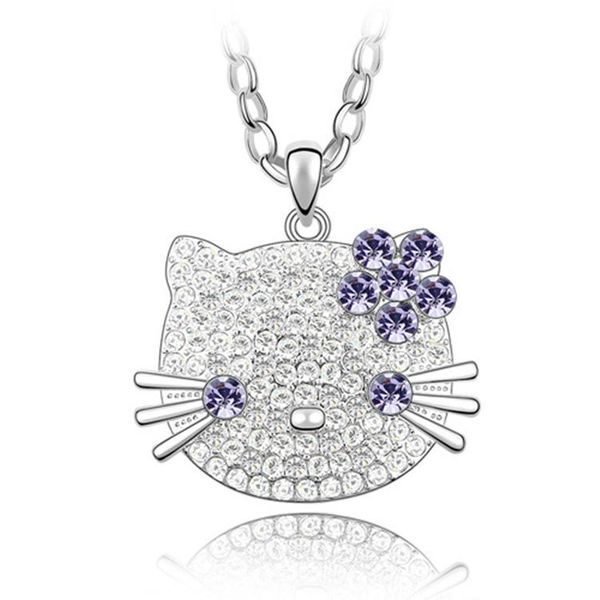 Womens cartoon character plating alloy imitated crystal necklace NHLJ126506