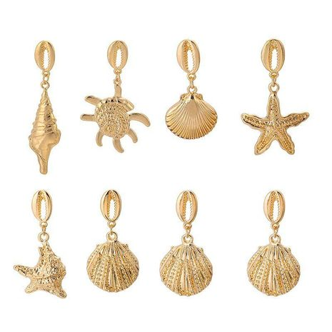 Womens Geometry Electroplating Seashell starfish conch Alloy Earrings NHGY126520's discount tags