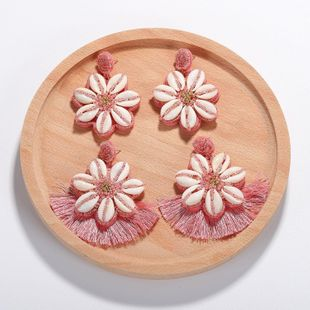 Womens Floral Mizhu tassel shell Seashell Earrings NHJQ126528's discount tags
