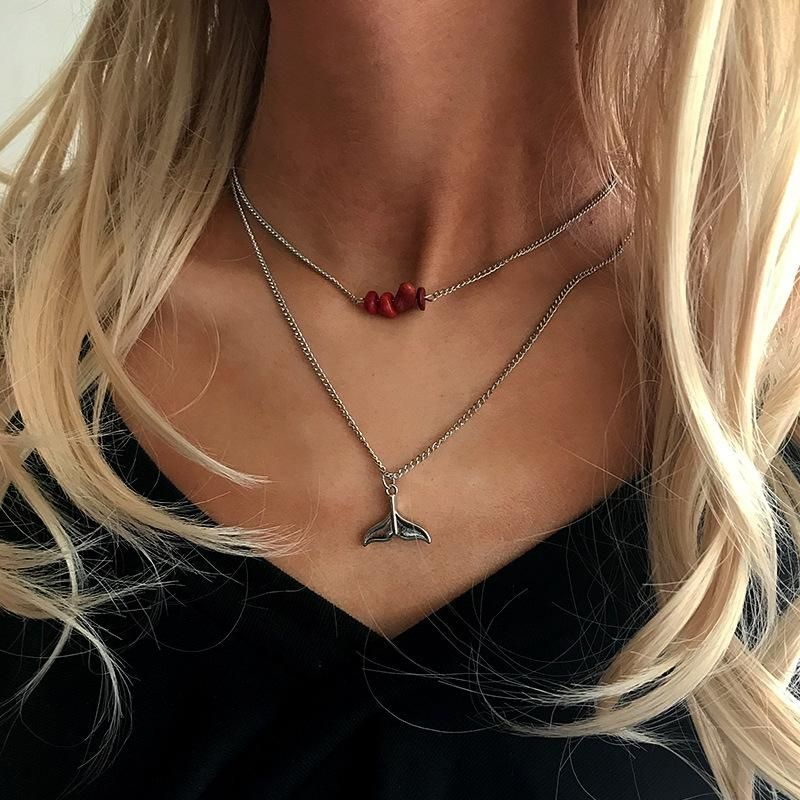 Womens Romantic fishtail Plating Alloy Necklaces NHNZ126614