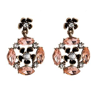 Womens Floral Rhinestone Alloy Earrings NHJE126668's discount tags