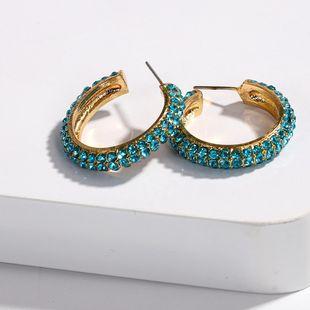 Womens U-shaped Alloy rhinestone Earrings NHJQ126671's discount tags