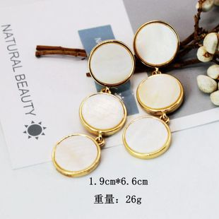 Womens Natural white round shell Earrings NHOM126673's discount tags